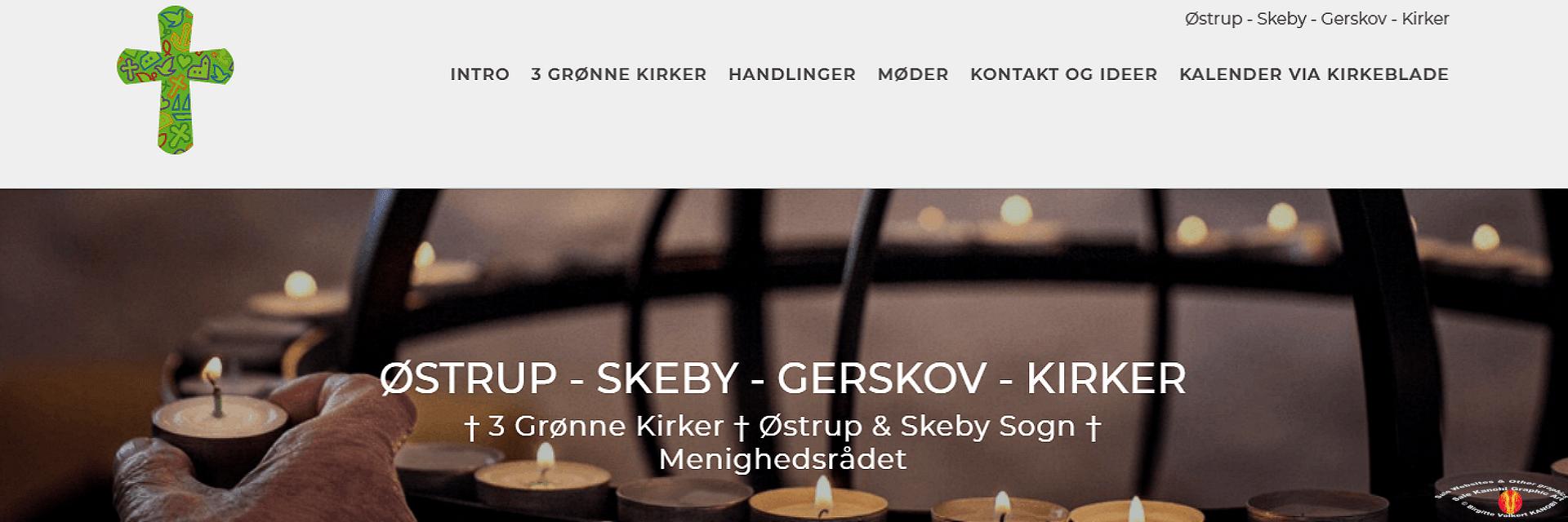 Link Østrup Skeby Gerskov Kirker Kanobi® frontpage screenprint.