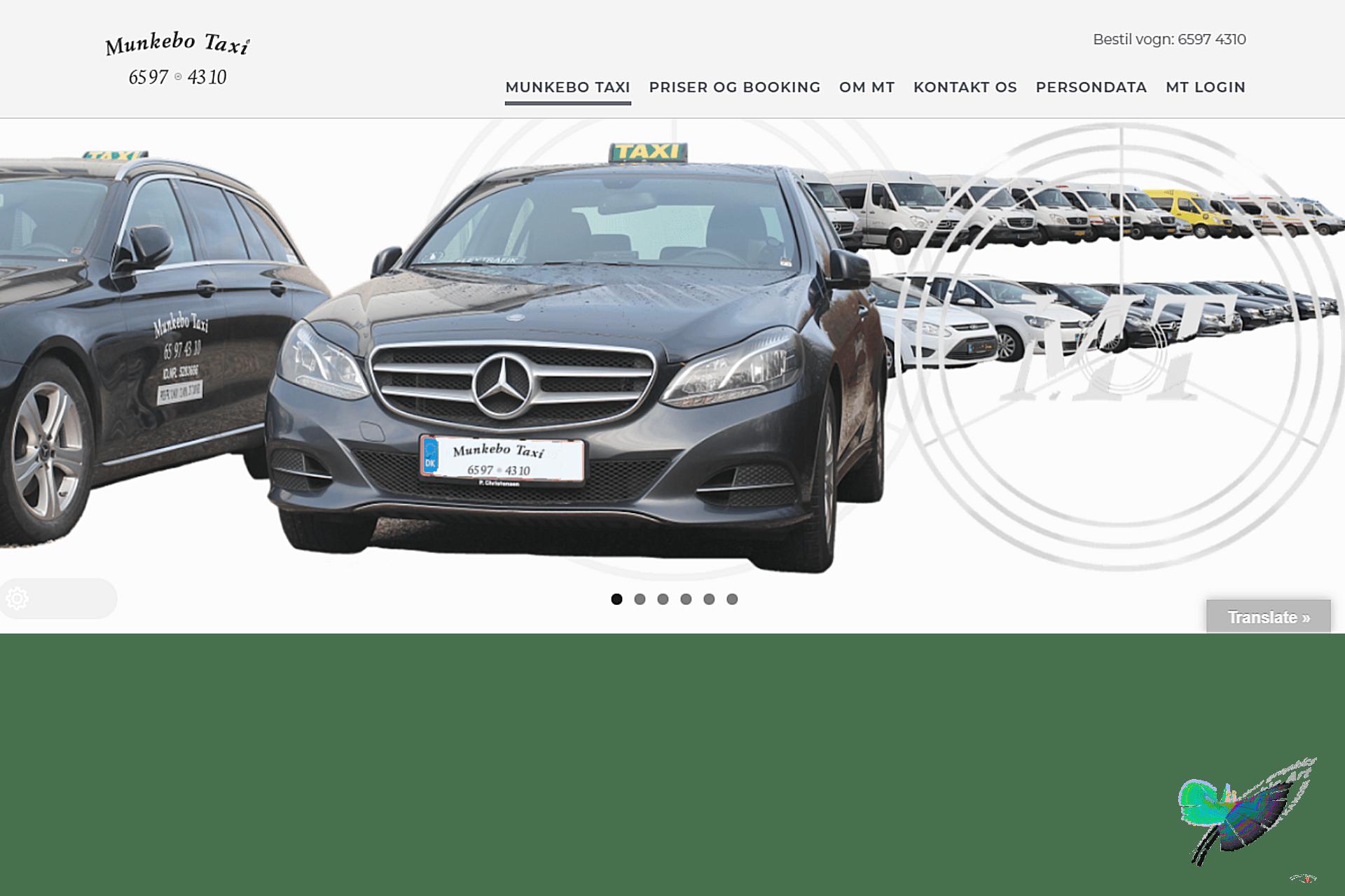 Munkebo Taxi eksempler hjemmeside, tekst, billeder. https://www.munkebotaxi.dk